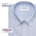 半袖ワイシャツ[CARPENTARIA] ボタンダウン ホワイト×ネイビーストライプ 形態安定 標準型 DHPC24-05