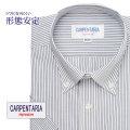 半袖ワイシャツ[CARPENTARIA] ボタンダウン ホワイト×ブラックストライプ 形態安定 標準型 DHPC24-07