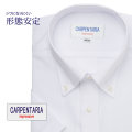 半袖ワイシャツ[CARPENTARIA] ボタンダウン ホワイト×ライトパープルストライプ 形態安定 標準型 DHPC24-11