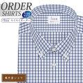 ワイシャツ大きいサイズ[軽井沢シャツ] ボタンダウン ホワイト×ネイビーチェック 形態安定 受注生産 E10KZBB59X