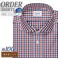 ワイシャツ大きいサイズ[軽井沢シャツ] カッタウェイ 純綿 ネイビー×レッドマルチチェック 受注生産 E10KZW399X