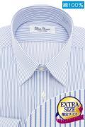 ワイシャツ[BLUERIVER] レギュラーカラー エクストラサイズ 純綿 ブルーストライプ 標準型 P11OSXR02