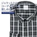 ワイシャツ[giacca-camicia] ボタンダウン 短尺 ブラック×グレーチェック 形態安定 標準型 P12GCB228