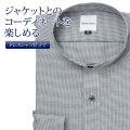 ワイシャツ[giacca-camicia] バンドカラー 短尺 グレー千鳥格子 形態安定 標準型 P12GCZS02