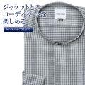ワイシャツ[giacca-camicia] バンドカラー 短尺 グレー系ギンガムチェック 形態安定 標準型 P12GCZS05