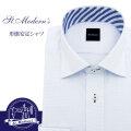 ワイシャツ[St.Moderns] ワイドスプレッド セミワイド 吸水速乾 ホワイト×ブルーボーダー 形態安定 標準型 P12STW215