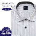 ワイシャツ[St.Moderns] ワイドスプレッド 吸水速乾 ホワイト×ブラック濃淡ストライプ 形態安定 スリム型 P12STW223