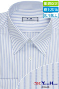 ワイシャツ[YUKIKOHANAI] レギュラーカラー 純綿 防汚加工 白地×ブルーストライプ 形態安定 標準型 P12YHR203