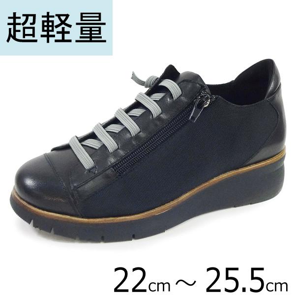 no.3040/ゴムレースシューズ/ブラック(BL)/4.5cmヒール/軽量/クッション/アーチサポートインソール.コンフォートシューズ