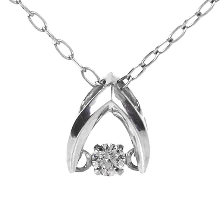 ダンシングストーン ネックレス ダイヤ プラチナ クロスフォー ダイヤモンド 0.03ct ダンシング 揺れる Pt900 ダイヤネックレス