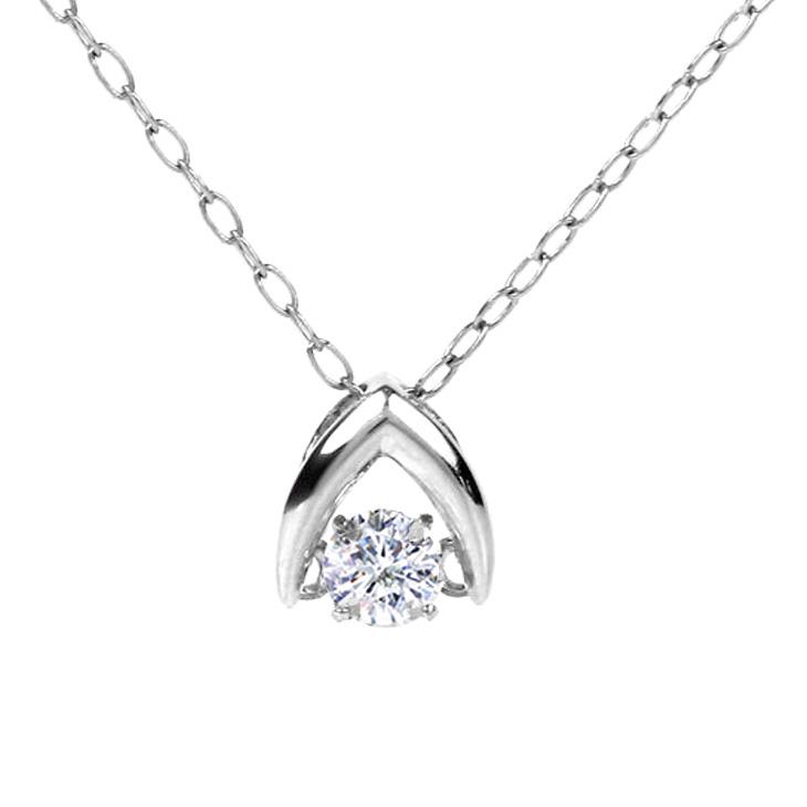 ダンシングストーン ネックレス ダイヤ プラチナ クロスフォー ダイヤモンド 0.10ct ダンシング 揺れる Pt900 ダイヤネックレス