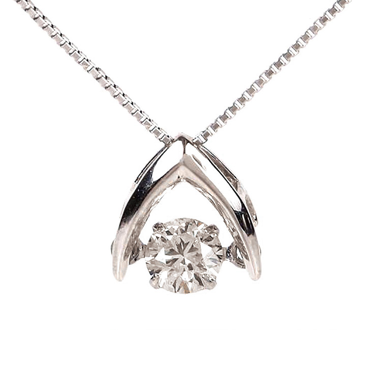 ダンシングストーン ネックレス ダイヤ プラチナ クロスフォー ダイヤモンド 0.20ct ダンシング 揺れる Pt900 ダイヤネックレス