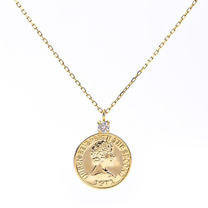 ネックレス コインネックレス コイン 18K K18 18金 金 ゴールドネックレス メダル ダイヤモンド ダイヤ YG ゴールド レディース 華奢 おしゃれ トレンド 人気 硬貨 金属アレルギー ジュエリー アクセサリー メンズ シンプル 人気 誕生日 プレゼント 女性 彼女 ギフト