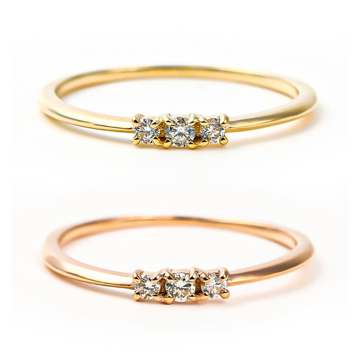 指輪 レディース リング ダイヤモンド ダイヤモンドリング ダイヤリング ピンキー 地金 ダイヤ 華奢 金属アレルギー k10 10金 ゴールド イエロー ピンク 大人 可愛い シンプル ファッション 重ねづけ ジュエリー アクセサリー ギフト 誕生日 プレゼント 女性