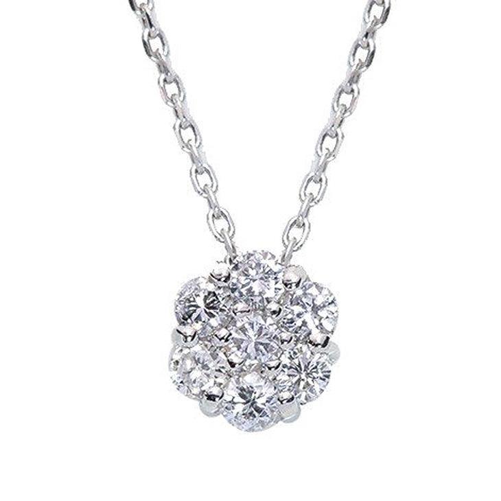 ダイヤモンド ネックレス レディース K18 ダイヤネックレス 18金 ハート&キューピット フラワー 7石 花 モチーフ 0.2ct