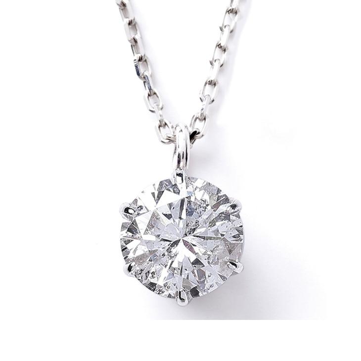 ダイヤモンド ネックレス レディース 一粒 プラチナ ダイヤネックレス PT900 0.2ct 6本爪 鑑定書