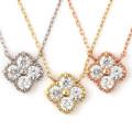 ダイヤモンド ネックレス レディース K18 ダイヤネックレス 18金 ハート&キューピット フラワー 4石 モチーフ 0.2ct