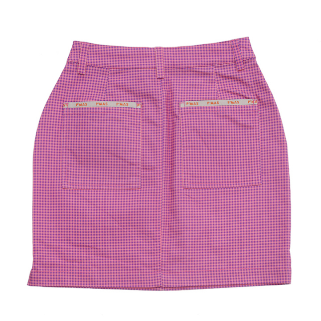 プリントチェックスカート(ピンク)