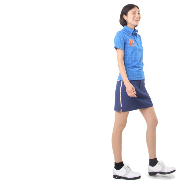 プリントPドットポロシャツ(ブルー)