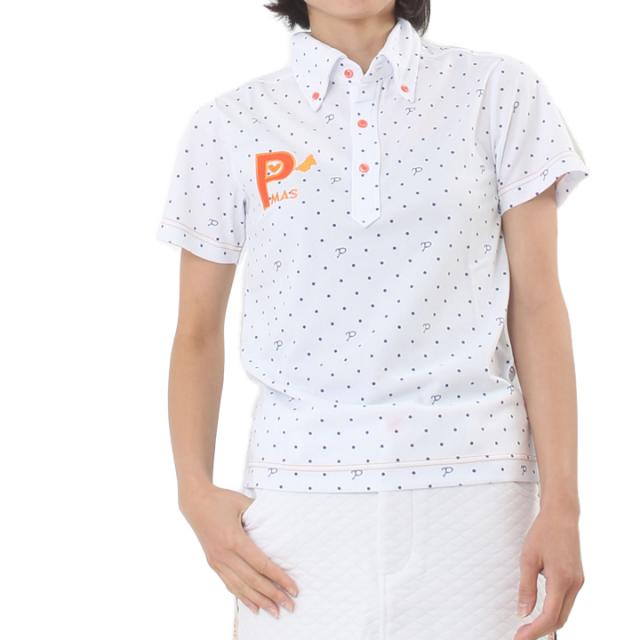 プリントPドットポロシャツ(ホワイト)