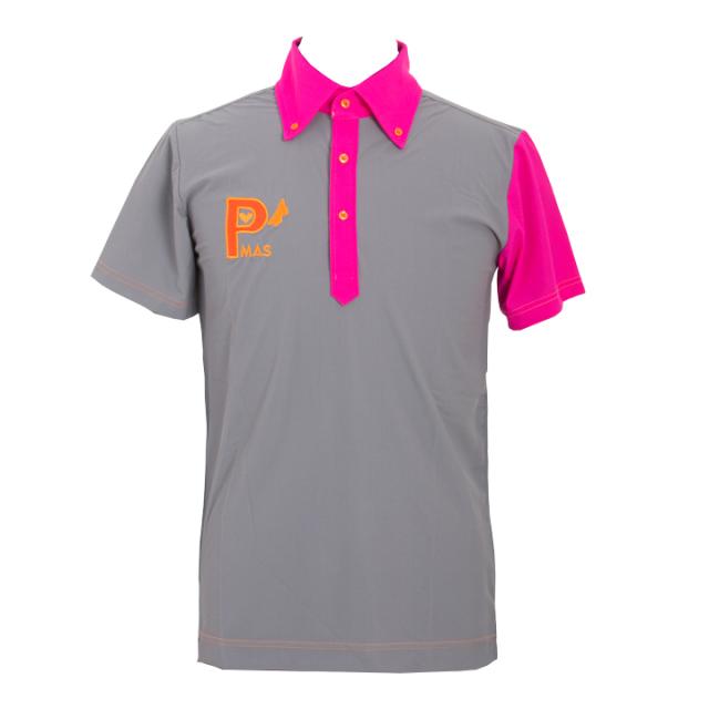 襟袖配色ポロシャツ(グレーxピンク)