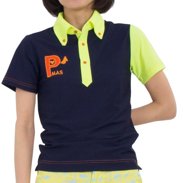 襟袖配色ポロシャツ(ネイビーxネオンイエロー)