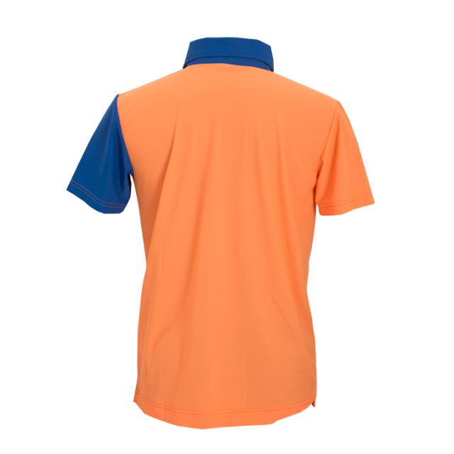 襟袖配色ポロシャツ(オレンジxブルー)