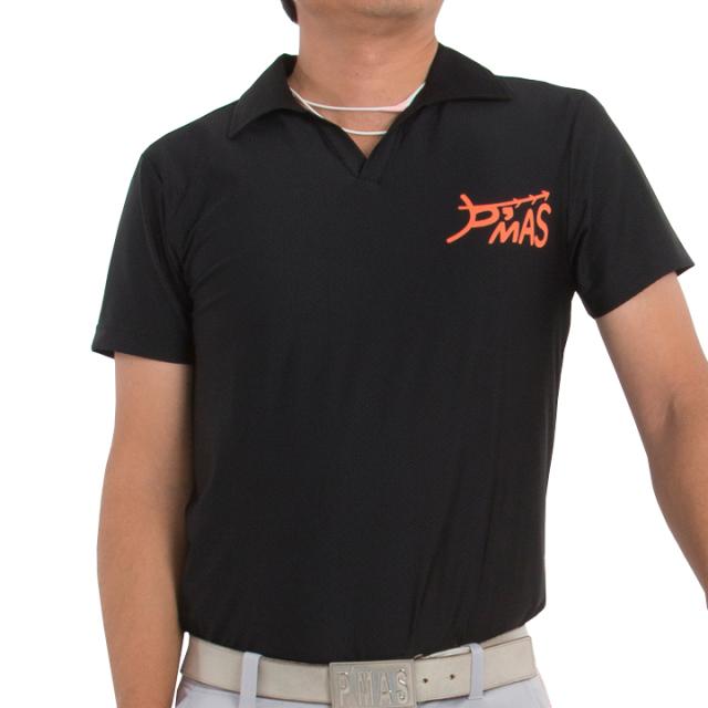 オープンカラーポロシャツ(ブラック)