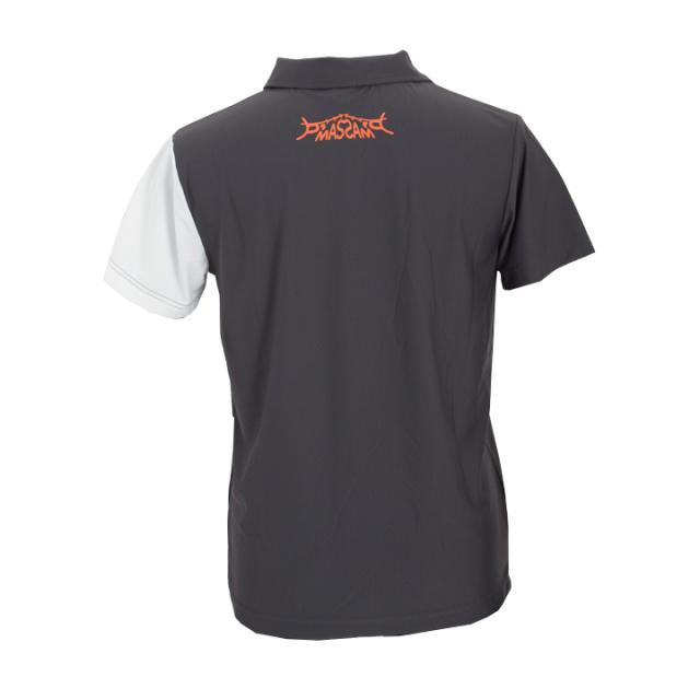 オープンカラーポロシャツ(グレーxホワイト)