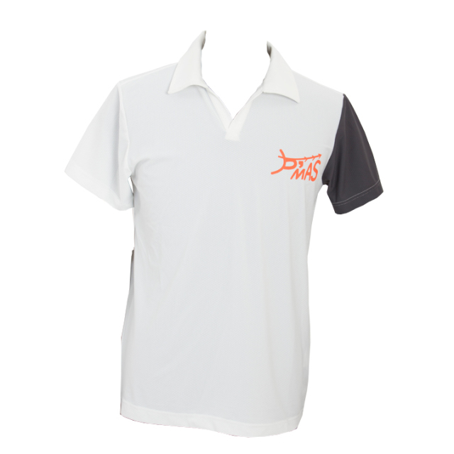 オープンカラーポロシャツ(ホワイトxグレー)