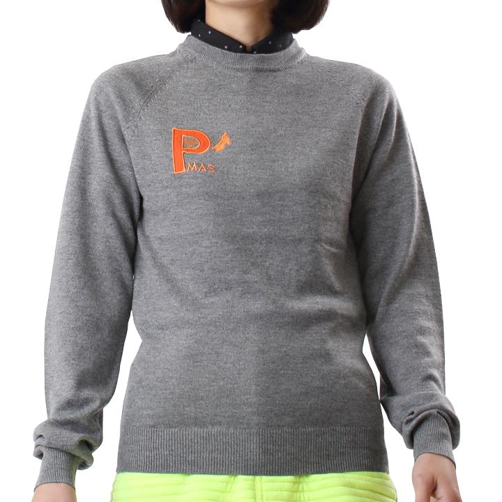 ラウンドネットセーター(グレー)
