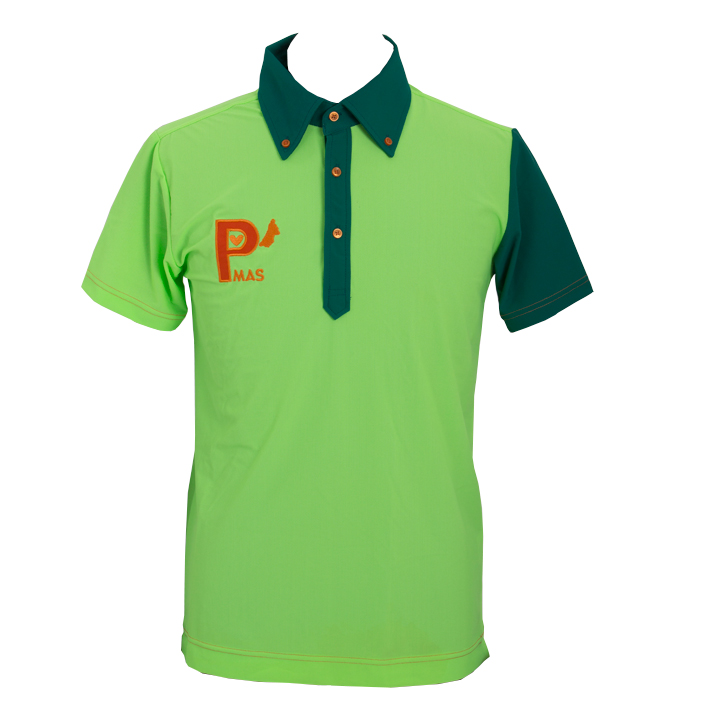 襟袖配色ポロシャツ(ネオングリーンxグリーン)
