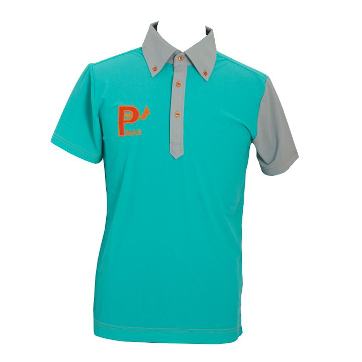 襟袖配色ポロシャツ(ミントxグレー)