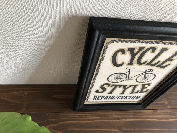 ヴィンテージウッドサインボード「CYCLE」