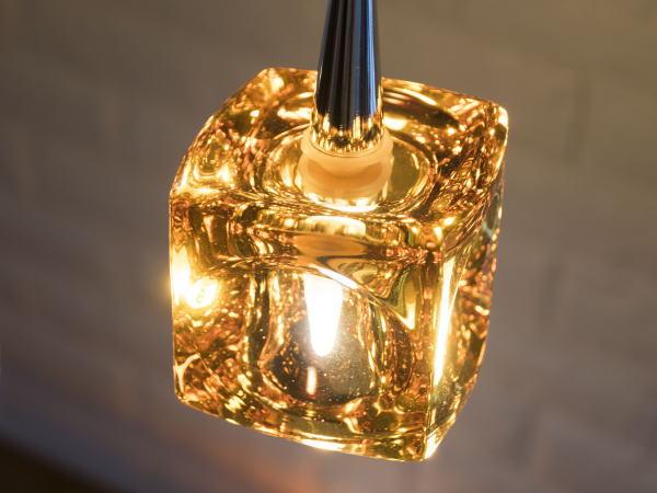CUBE(キューブ)1灯LEDガラスランプ(アンバー)