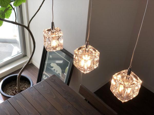 CUBE(キューブ)3灯LEDガラスランプ