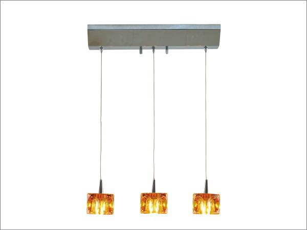 CUBE(キューブ)3灯LEDガラスランプ(アンバー)