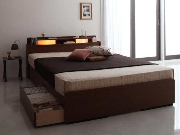2灯照明・引き出し収納付きシングルベッド