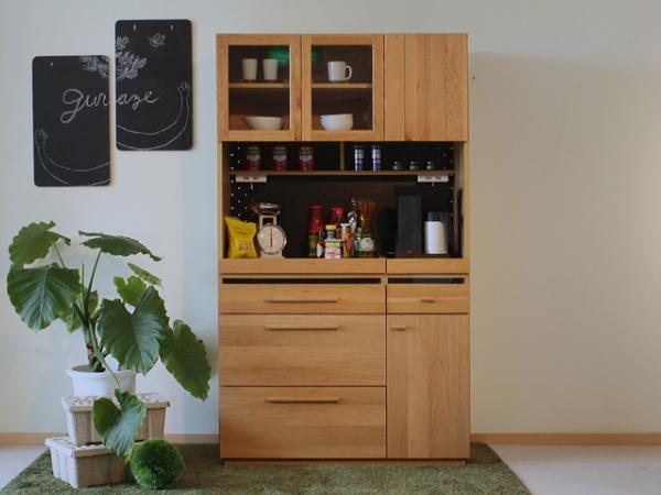 完成品 OKUTA(オクタ)105cm幅ナチュラルダイニングボード・食器棚