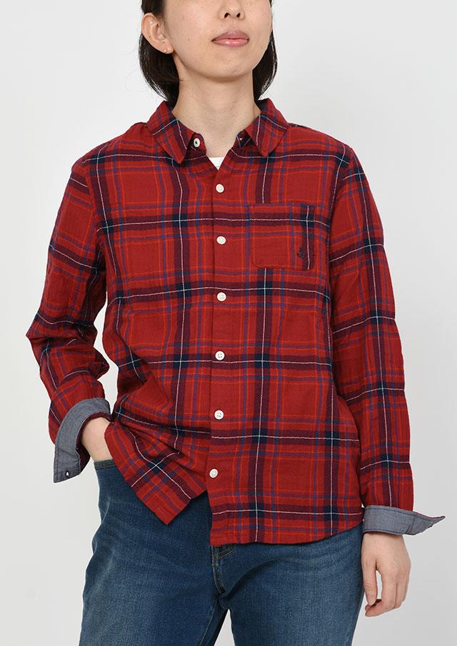 【2019秋冬】シャーリングヘリンボーンチェックシャツ【PE129501】【ポートランド】