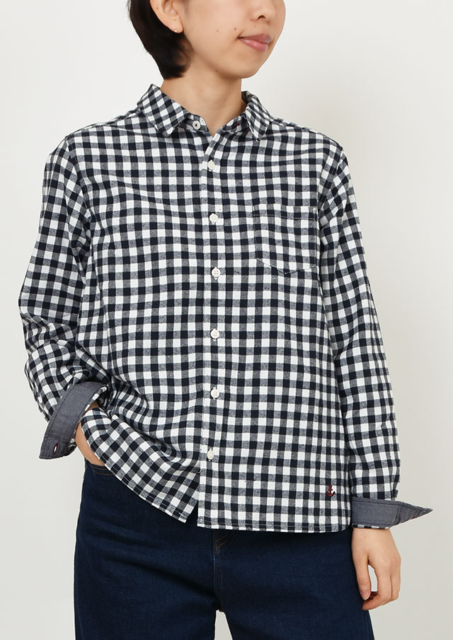 【2019秋冬】ギンガムチェックルーズシャツ【PE129605】【右前タイプ】【ポートランド】