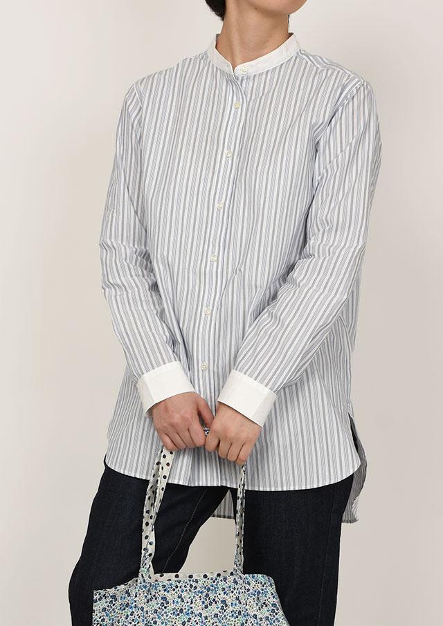 10%OFF!【2021春夏】クレリックストライプロングシャツ【PL051019B】【ブルーライフ】