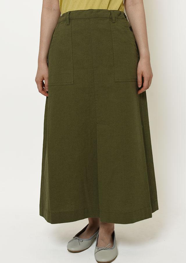 【2021秋冬】綿麻サイドボタンスカート【PL081501B】【ブルーライフ】