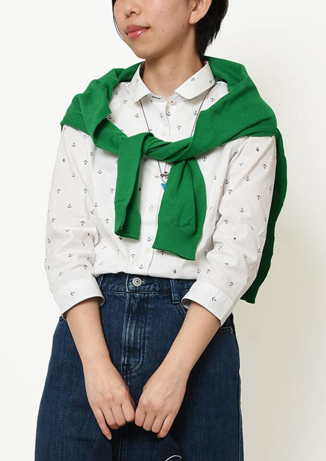 【2019春夏】イカリプリントミニラウンドカラーシャツ八分袖【PL129206】【ポートランド】