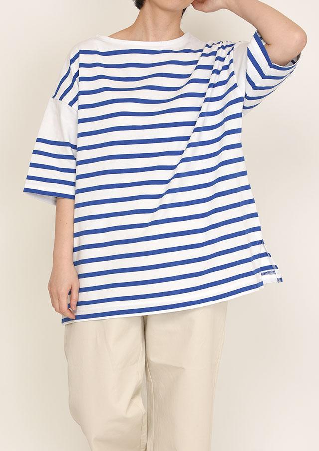 【2021春夏】パネルボーダー五分袖BIGTシャツ【PL151004B】【ブルーライフ】