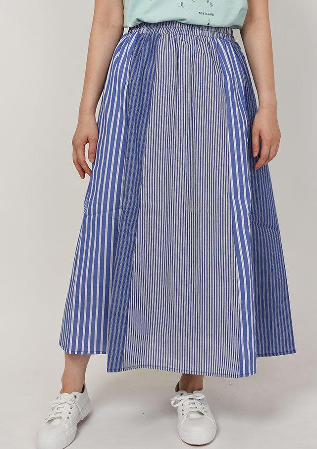 SALE!!【2020春夏】ストライプ切替スカート【P2611339】【ブルーライフ】