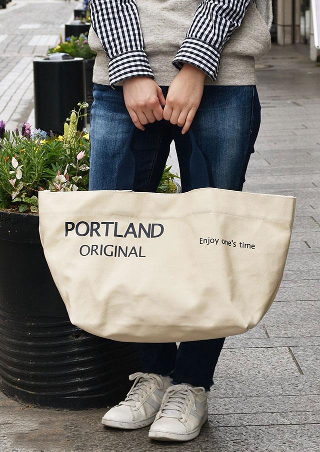 【2019春夏】キャンバスロゴプリントトートバッグ【PA41-296】【ポートランド】