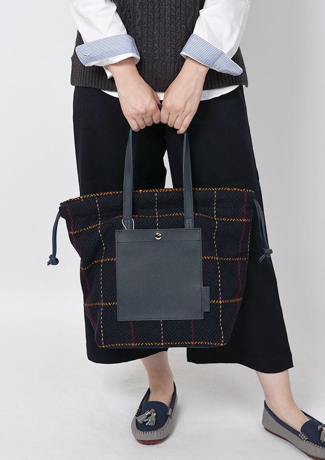 【2019秋冬】合皮×チェックコンビデザインバッグ【PA41-311】【ポートランド】