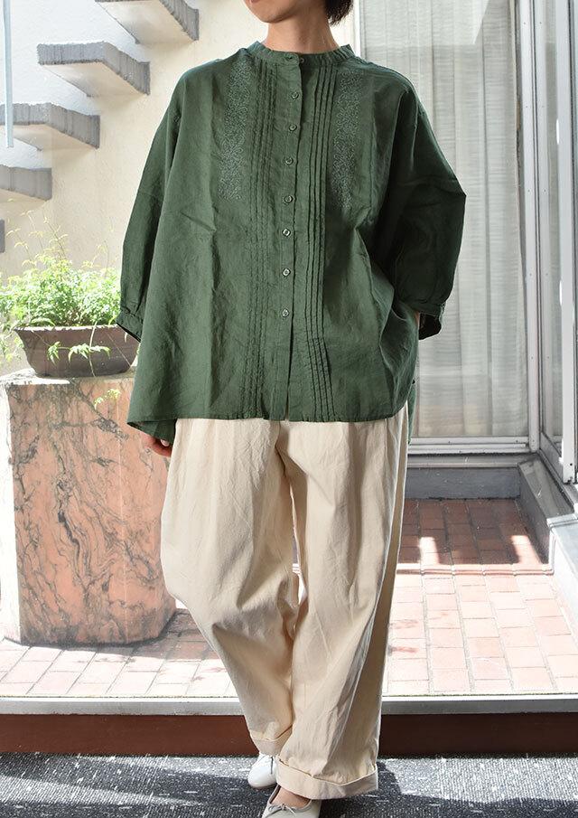 【2021秋冬】ラミーコットンクロス刺繍ブラウス七分袖【PE-61387】【ブルーライフ】