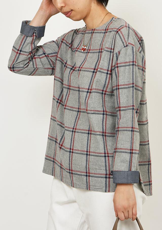 SALE!!【2019秋冬】ヘリンボーンウィンドウペンチェック起毛プルオーバー【PE059607】【ポートランド】